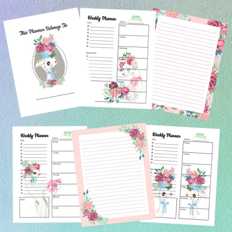 floral llamas weekly planner