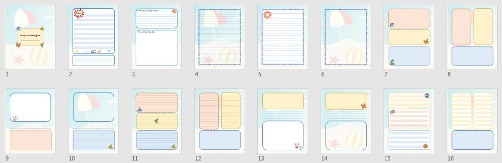 beach journal templates