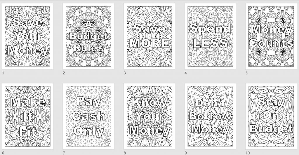 Coloring Patterns Budget Affirmations