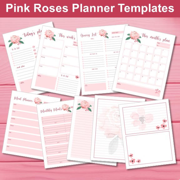 Pink Roses Planner Mockup