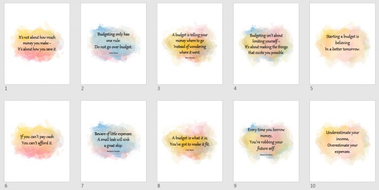 Watercolor Budget Quotes