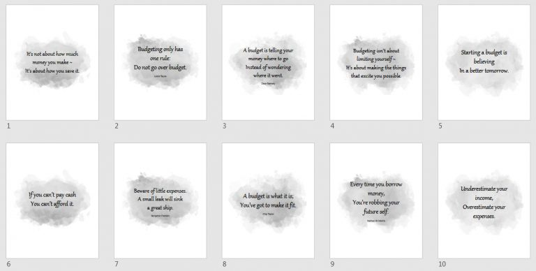 Watercolor Budget Quotes Grayscale Option