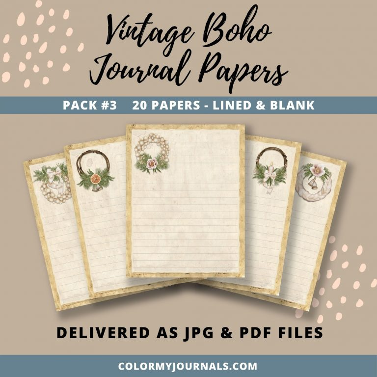 Vintage Boho Journal Papers Pack 3