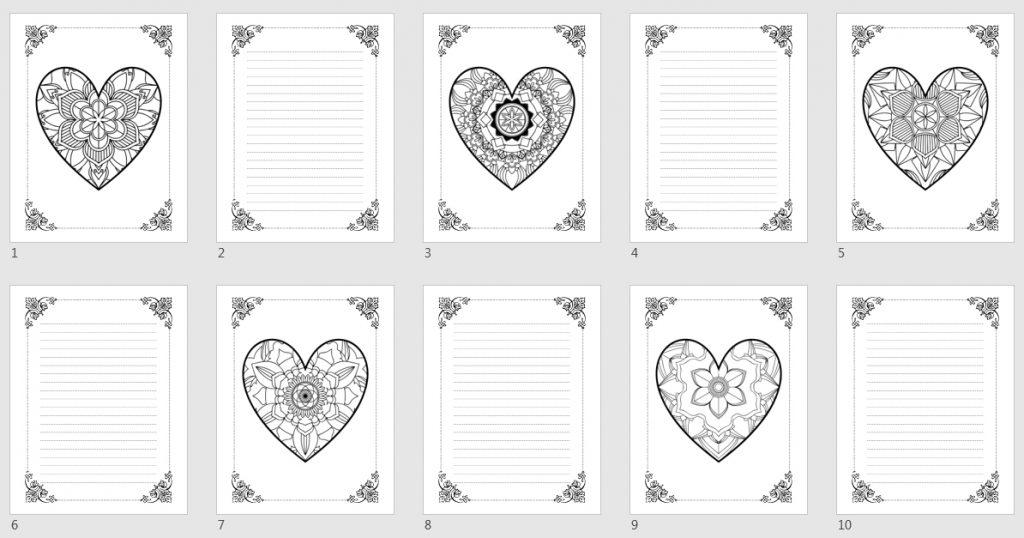 Mandala Hearts Coloring Journal