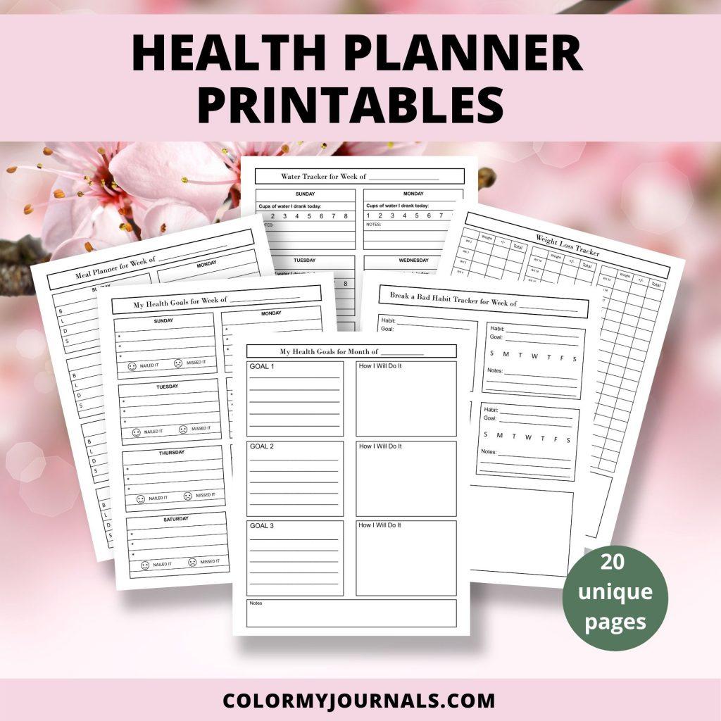 health planner printables